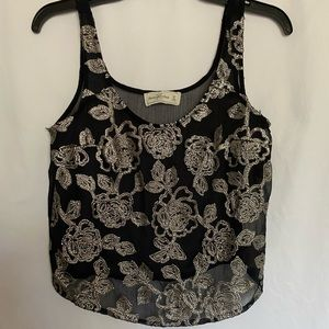 Abercrombie & Fitch Navy blue sequin tank top XS